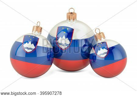 Christmas Baubles With Slovenian Flag, 3d Rendering Isolated On White Background