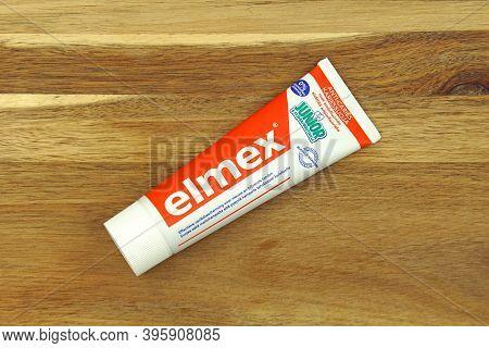 Zaandam, The Netherlands - November 22, 2020: Tube Of Elmex Junior Anti-cariës Kids Toothpaste.