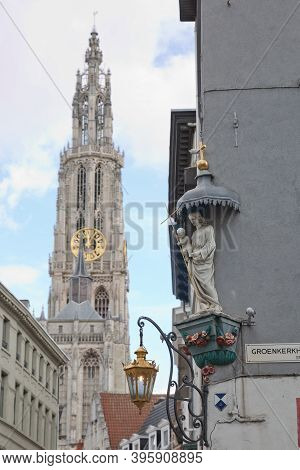 View Of A Cathedral Of Our Lady In Antwerp Belgium