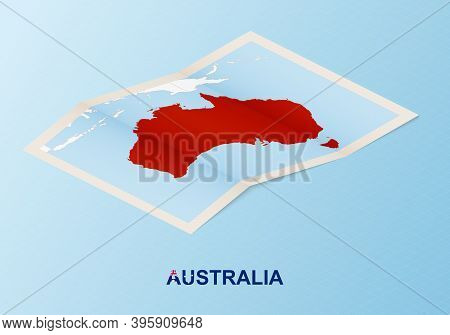 Folded Paper Map Of Australia With Neighboring Countries In Isometric Style On Blue Vector Backgroun