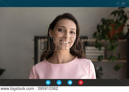Screen View Smiling Young Mixed Race Woman Holding Video Call.