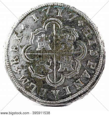 Ancient Spanish Silver Coin Of The King Felipe V. 1717. Coined In Madrid. 2 Reales. Reverse.