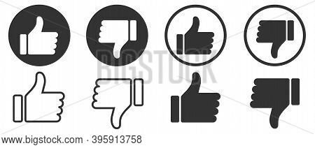 Thumbs Up And Thumbs Down. Like And Dislike Icons Collection Set. Modern Graphic Elements For Web Ba