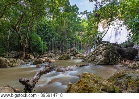 Famous Tropical Waterfall Namuang During Rainy Season On Koh Samui Island In Thailand, Fresh Water I