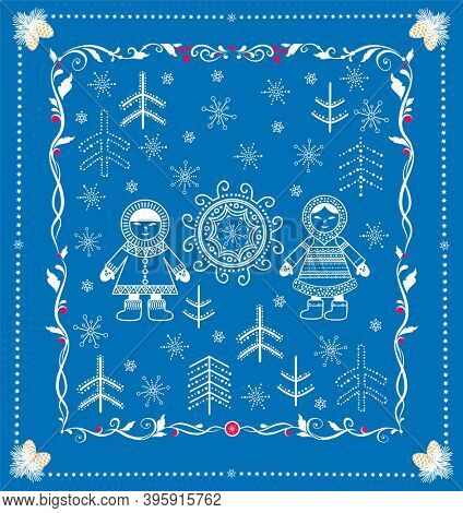 Funny childish decorative greeting for winter holidays with Eskimo child boy and girl, snowflakes, fir trees and sun