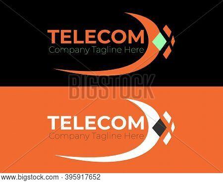 Telecom Company Logo Template Design Vector, Double Color Emblem, Design Concept, Creative Symbol, I