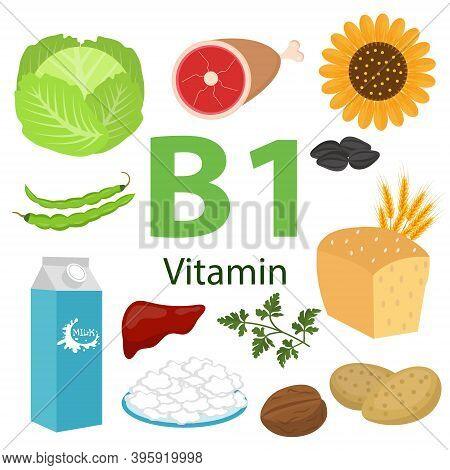 Infographic Set Of Vitamin B1 And Useful Products Spinach, Nut, Cauliflower, Onion, Pea, Beet, Potat