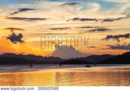 Coron Town Seacoast At Sunset, Busuanga Island In Palawan Province In Philippines