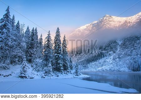 Winter Mountains. Snowy Mountain Nature In The Morning. Beautiful Frozen Landscape Snow Forest On Th