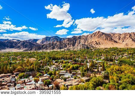 Leh Aerial Panoramic View. Leh Is The Capital And Largest Town Of Ladakh Union Territory In India.