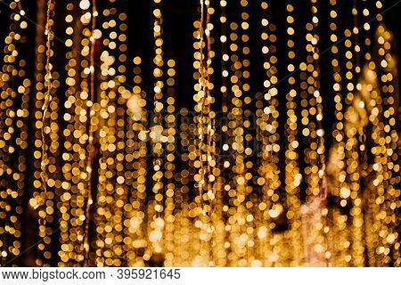 Bright Golden Christmas Or New Year Lights Blurred Festive Background.