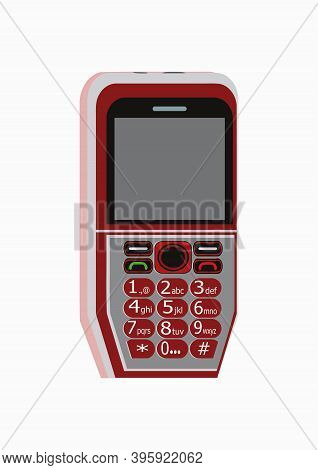 Image Of A Red Color 2g Phone Vector Design, Having In Numeric Keypad And Display.