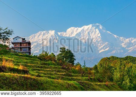 Local House And Annapurna Massif View From Sarangkot Hill Viewpoint In Himalayas Mountain Range In P