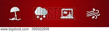 Set Sun Protective Umbrella For Beach, Cloud With Snow, Weather Forecast And Wind Icon. Vector