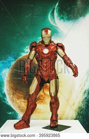 Moscow, November 21, 2020: Full-length Figure Of An Iron Man.