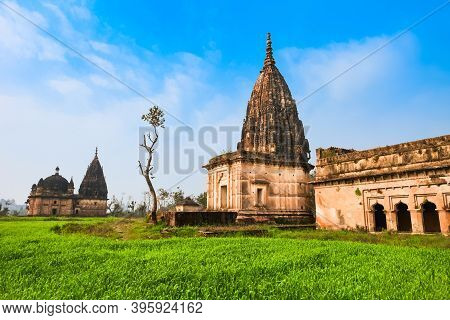 Chhatris Ancient Indian Pavilions Situated In Orchha City In Madhya Pradesh State Of India