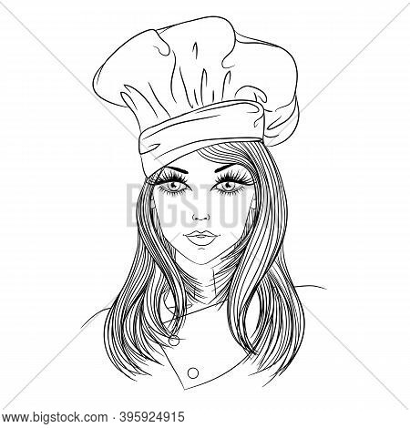 Profession. Portrait Of A Young Beautiful Woman Chef In Chefs Hat. Vector Line Art Illustration Isol