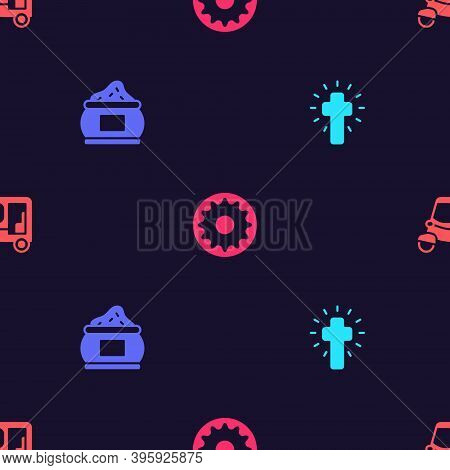 Set Christian Cross, Indian , Chakra And Taxi Tuk Tuk On Seamless Pattern. Vector