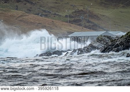 Waves Crashing In To The Cliffs Of The West Coast Of County Donegal - Ireland