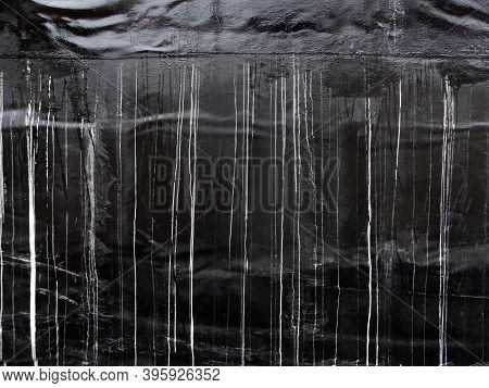 Waterproof Coatings Applied On Flat Wall Concrete Surfaces. There Are Several Layers And Layers Of F