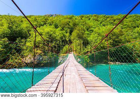 Bridge Through A River In Durmitor National Park In Montenegro