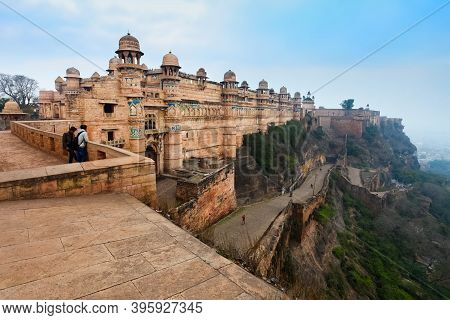 Gwalior Fort Or Gwalior Qila Is A Hill Fort In Gwalior City In Madhya Pradesh State, Central India