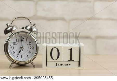 January 1. First Day Of January.first Day Of The New Year. Calendar On A Light Background. Winter. E