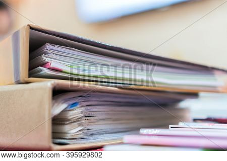 File Document Orange Binders For Accountant Audit In Bookkeeping Business Office. Archive Auditing O