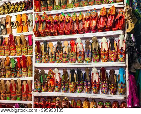 Traditional Indian Shoes At The Arpora Night Market In Goa State Of India