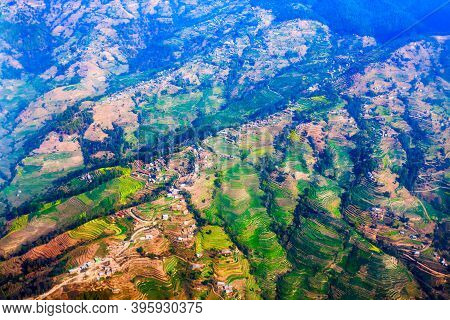 Kathmandu Valley Aerial Panoramic View. Kathmandu Is The Capital And Largest City Of Nepal.