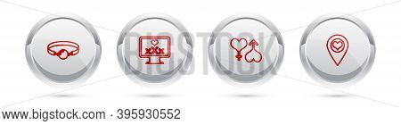 Set Line Silicone Ball Gag, Monitor With 18 Plus Content, Male And Female Heart And Location. Silver