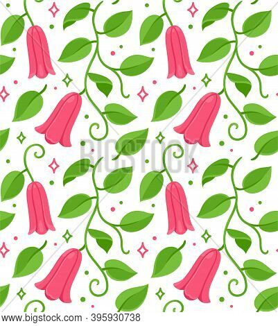 Copihue, Chilean Bellflower Seamless Floral Pattern. National Flower Of Chile. Vector Drawing On Whi