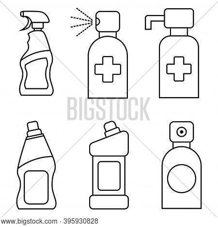 Household Chemical Bottles. Liquid Detergent Or Soap, Stain Remover, Laundry Bleach, Bathroom Or Toi