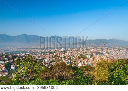 Kathmandu Aerial Panoramic View From The Swayambhunath Temple Viewpoint. Kathmandu Is The Capital An