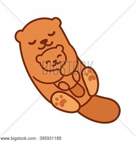 Cute Cartoon Otter Mom Hugging Baby Cub, Mother's Day Drawing. Simple Kawaii Clip Art Illustration.