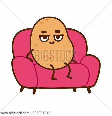 Couch Potato, Funny Cartoon Character. Lazy Potato Sitting On Sofa, Vector Clip Art Illustration.