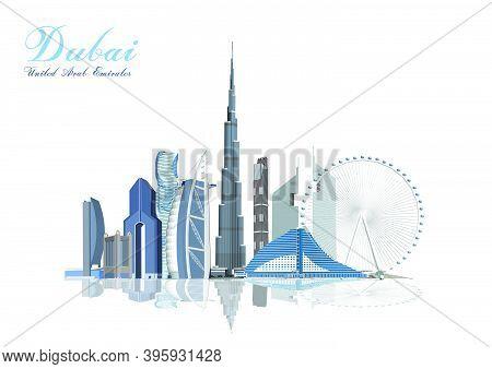 Simple Flat-style Illustration Of Dubai City In United Arab Emirates And Its Landmarks. Famous Build