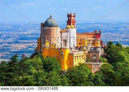 Pena Palace Or Palacio Da Pena Is A Romanticist Castle In Sintra Town, Portugal