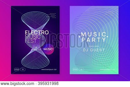 Sound Flyer. Dynamic Fluid Shape And Line. Commercial Discotheque Magazine Set. Neon Sound Flyer. El
