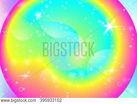 Fluid Dynamic Background With Vibrant Rainbow Gradients. Dynamic Hologram. Holographic Cosmos. Graph