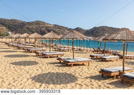 Mylopotas Beach, Ios Island, Greece- 20 September 2020: One Of The Most Popular Beach On Ios. People