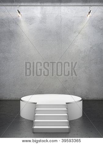 Empty white podium