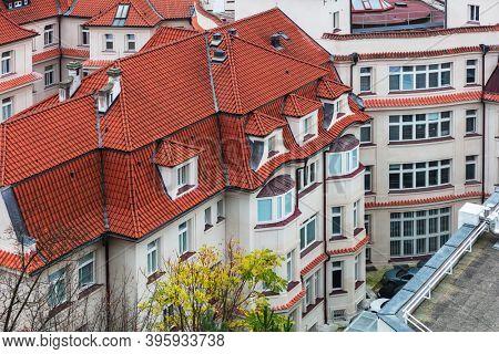 tile roofs of the old city. Prague, Czech republic