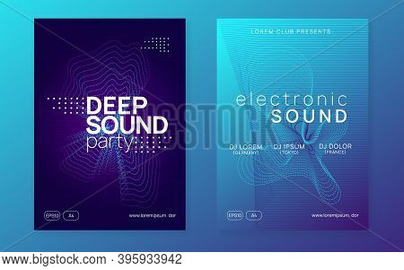 Techno Event. Dynamic Fluid Shape And Line. Energy Discotheque Banner Set. Neon Techno Event Flyer.