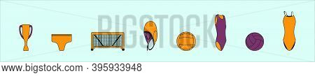 Water Polo Icon And Element. Modern Cartoon Icon Design Template With Various Models. Modern Vector