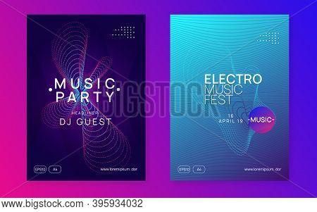 Electronic Fest. Dynamic Fluid Shape And Line. Cool Concert Cover Set. Neon Electronic Fest Flyer. E