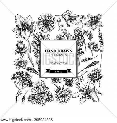 Square Floral Design With Black And White Anemone, Lavender, Rosemary Everlasting, Phalaenopsis, Lil