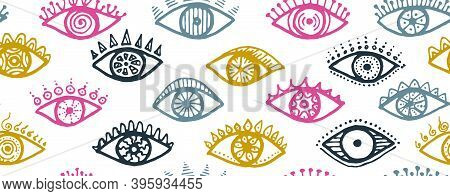 Doodle Open Eyes Magic Repeatable Ornament. Pop Art Graphic Style Illustration. Makeup Wrapping Prin