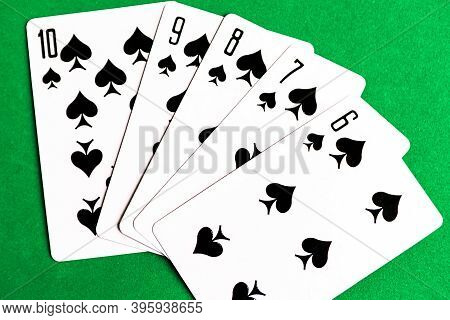 Poker Straight Flush Playing Cards, Suit Of Spades, Green Background