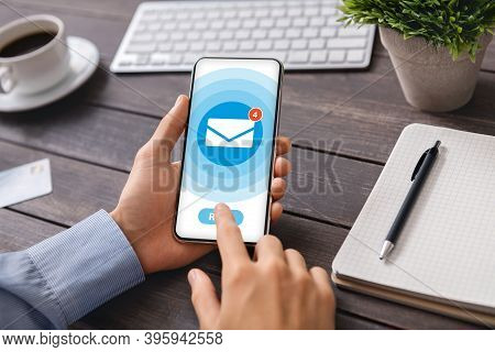 Collage With Businessman Opening Unread Messages In Mobile Email Application At Office Desk, Close U